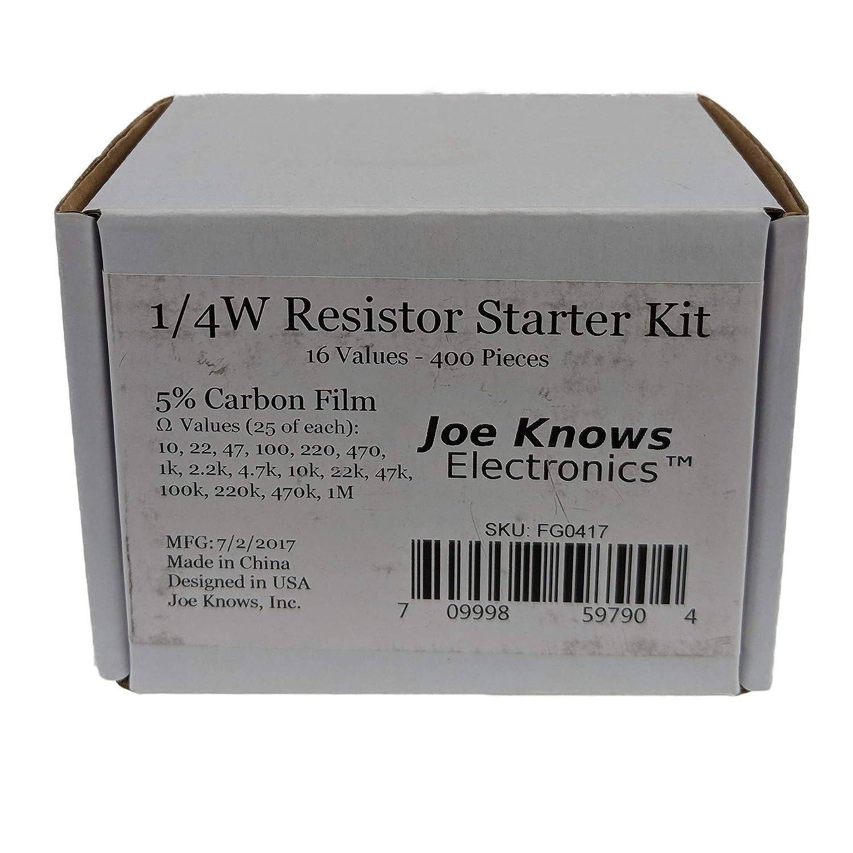 Inc Joe Knows Electronics 1//4W Resistor Starter Kit 16 Values, 400 Pieces FG0417