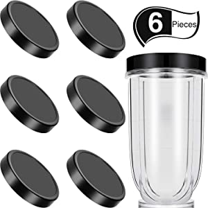 6 Pieces Black Plastic Keep Fresh Lid Parts Replacement Compatible with Magic Bullet 250W