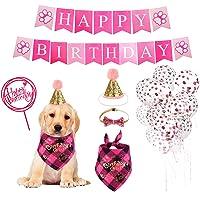 KissUrpet - Bandana para perro de cumpleaños, diseño de perro, color rosa