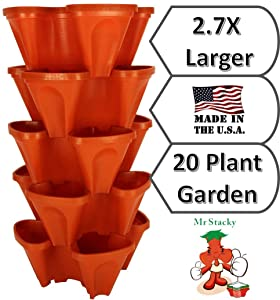 Large Stacking Planters - 5-Pack of Vertical Gardening Pots for Growing Strawberries, Flowers, Herbs, and Vegetables - 20 Plant Garden in 1 Location (5)