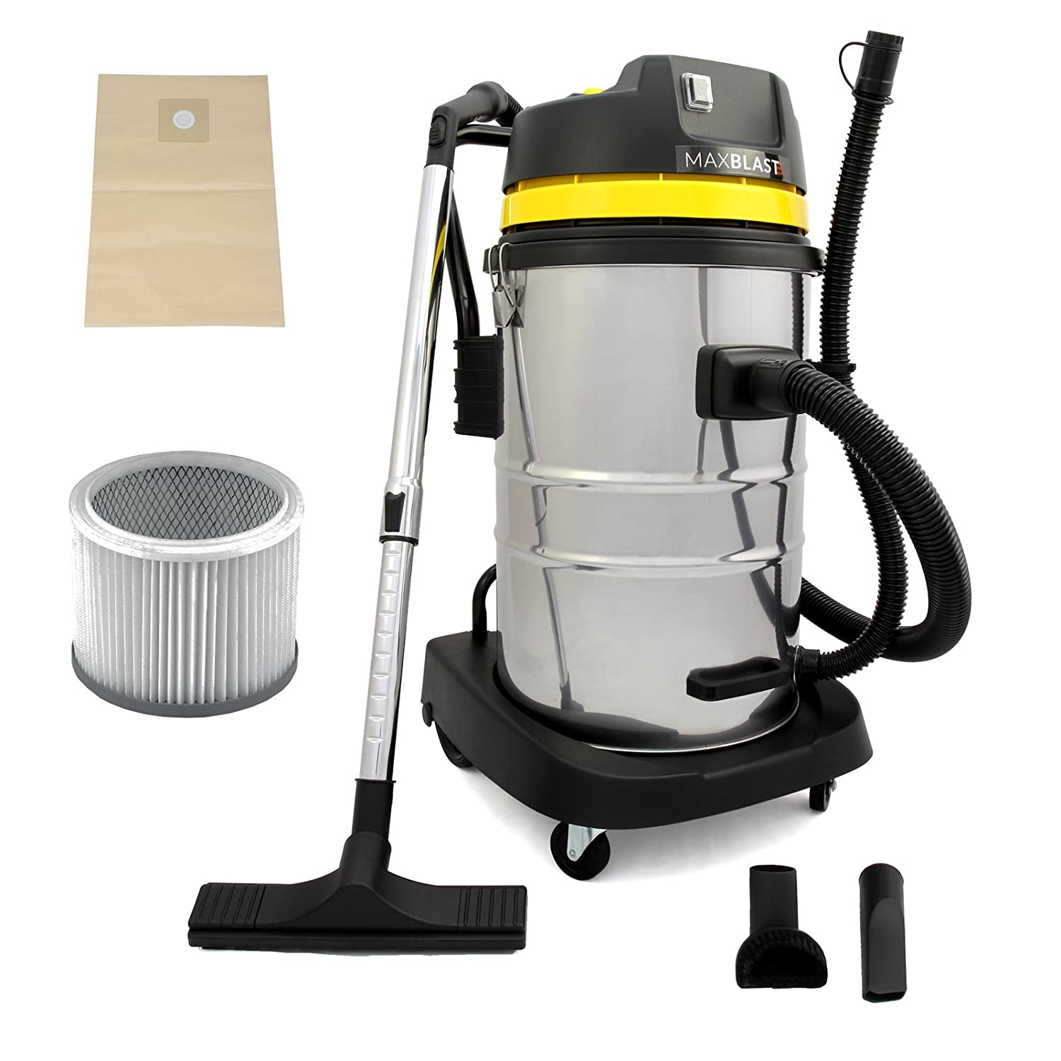 MAXBLAST Industrial Wet U0026 Dry Vacuum Cleaner U0026 Attachments, Powerful 1400W,  50 Litre, Stainess Steel: Amazon.co.uk: DIY U0026 Tools