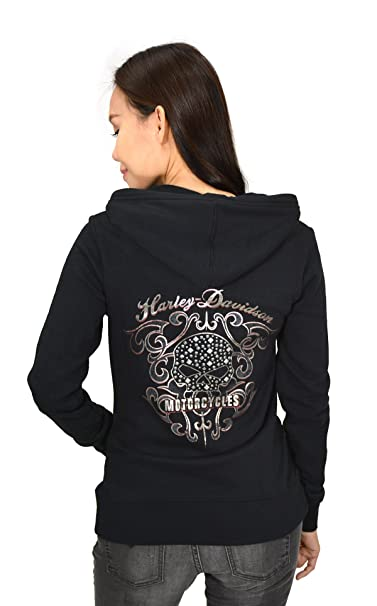 96d3f659f Harley-Davidson Womens Scroll Willie G Skull Studded Hoodie 99162 ...