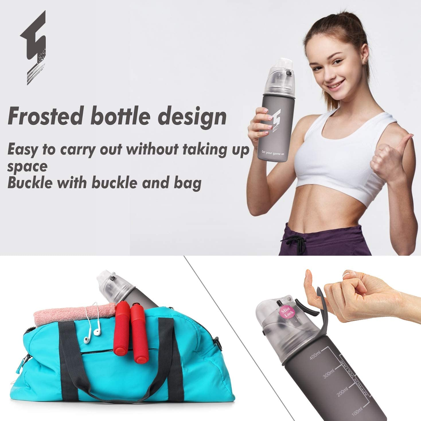 NOVOs Drinking and Misting Sports Water Bottle Portable Leak-Proof Spray Cup for Cycling Fitness Camping Hiking Outdoor Non-Toxic BPA Free Fast Water Flow Opens with 1-Click
