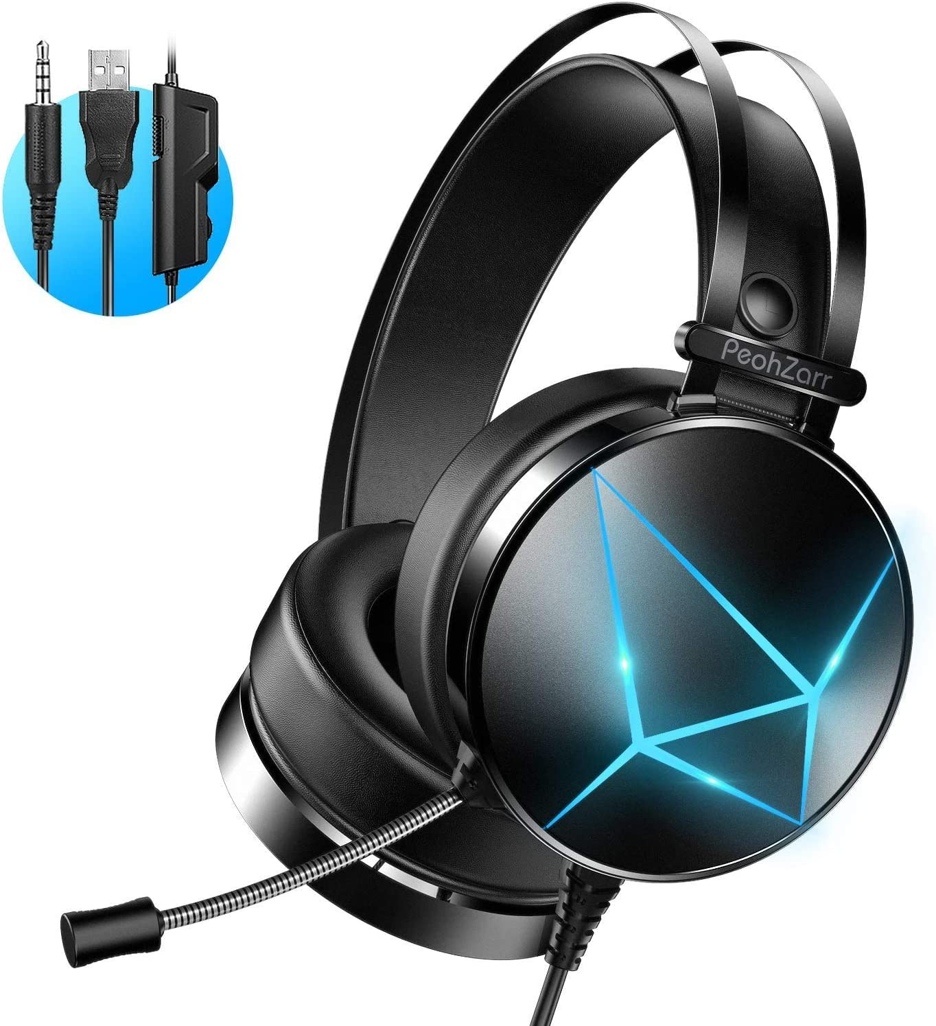 Amazon Com Peohzarr Gaming Headset One Headset Ps4 Headset With 7 1 Surround Sound Pc Headset With Mic Light Over Ear Headphones For One Controller Adapter Not Included Ps4 Nintendo Switch Ps2 Computers