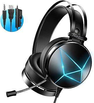 Auriculares Gaming PS4, PeohZarr Cascos Gaming PS5 Sonido Envolvente 7.1 Estéreo Cascos con Microfono 3.5mm Jack con Luz LED y Cancelación de Ruido Auriculares para PC/Xbox One/Nintendo: Amazon.es: Electrónica
