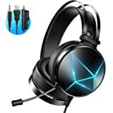 PeohZarr Gaming Headset for Xbox One, PC Headset with Noise-canceling, Xbox One Headset with LED Light, PS4 Headset with 7.1