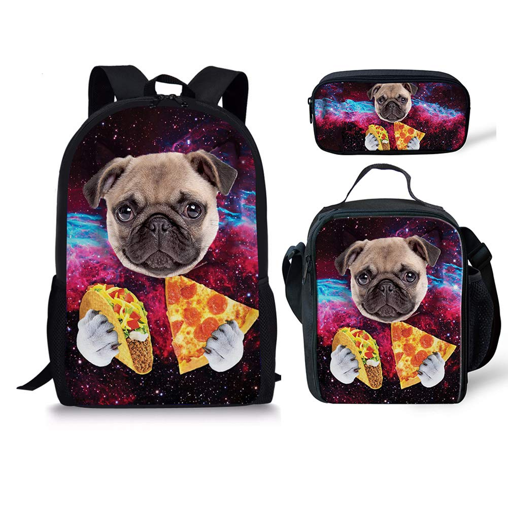 chaqlin Cool Wolf Thermal Insulated Kidsランチバッグ大人クーラーボックス S-K1837C+G+K  Galaxy Pug(3pcs) B07G7Y7M23