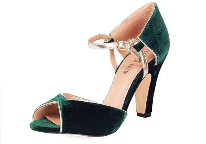 Chelsea Crew LONNY Retro Velvet Metallic Classic Peep Toe Pump  AT vintagedancer.com