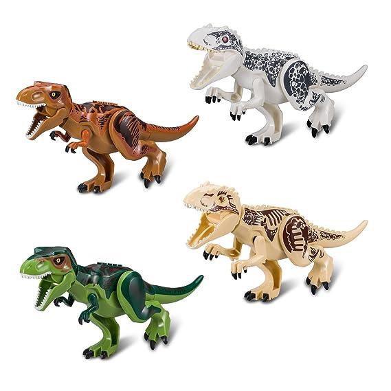 BeneGlow 4 Sets Große Größe Lebensechte Mehrfarbige 3D Dinosaurier Spielzeug, Jurassic World Dinosaurier Figur Blöcke für Kin