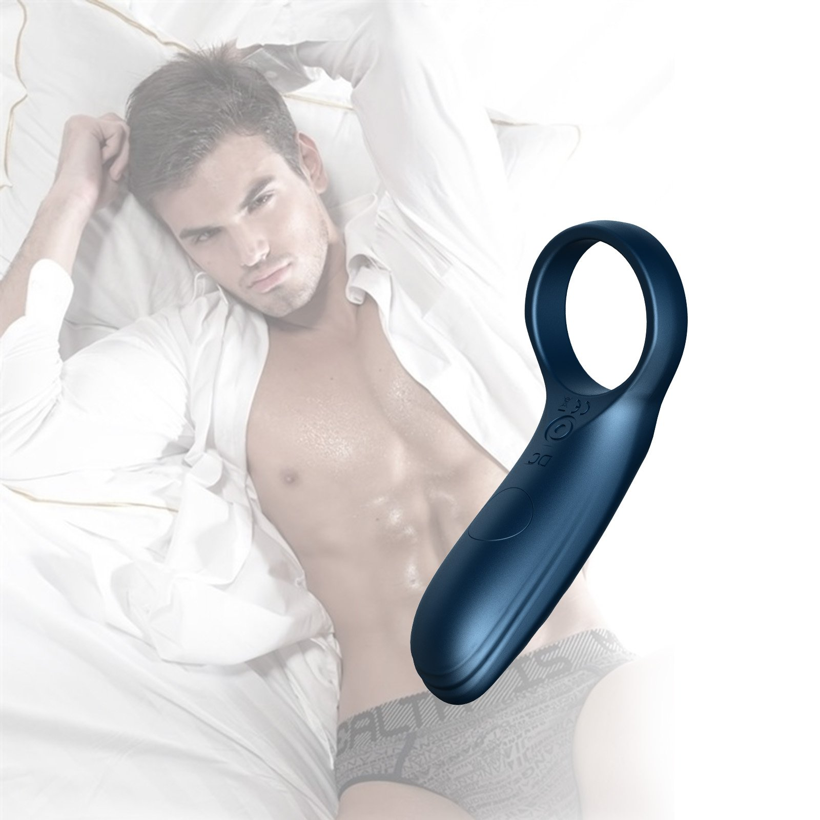 Vibrating Cock Ring - Silicone Waterproof Rechargeable Penis Ring Vibrator -Clitorial Stimulator Vibrator Sex Toy for Male Or Couples(Blue)