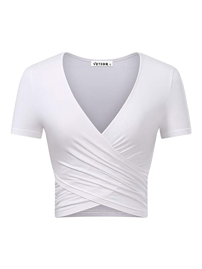 VETIOR Women's Deep V Neck Short Sleeve Unique Cross Wrap Slim Fit Crop Tops (Medium, White.) Best Crop Tops