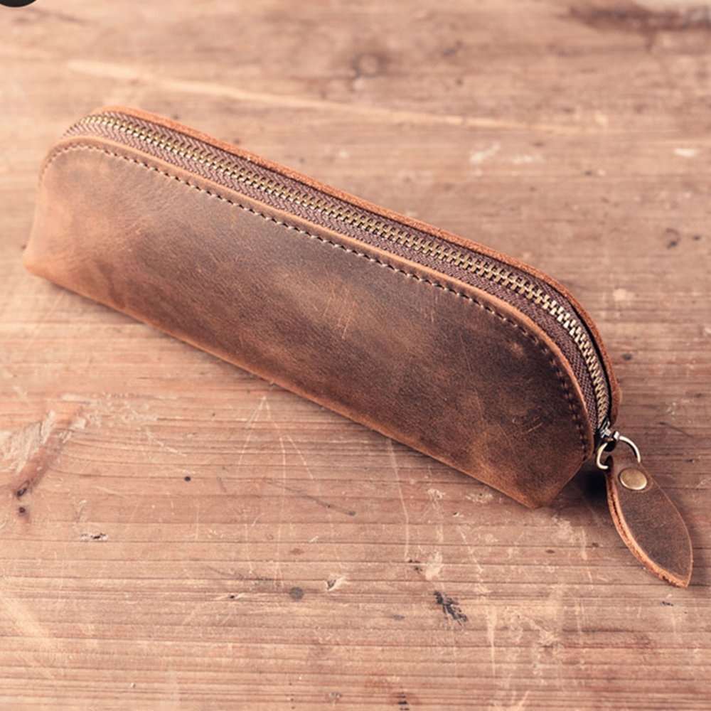 SAIBANG Vintage Leather Pencil Case with Zipper, Handmade Genuine Leather Stationery Art Supplies College Office Pencil Holder Pen Case Pouch Unisex by SAIBANG