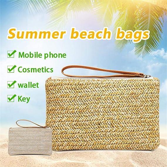 IrahdBowen Cartera Bolsa de Paja Embrague Tejido Casual Bolso de Playa para Mujer, Monedero móvil También es una Buena opción para los Viajes de ...