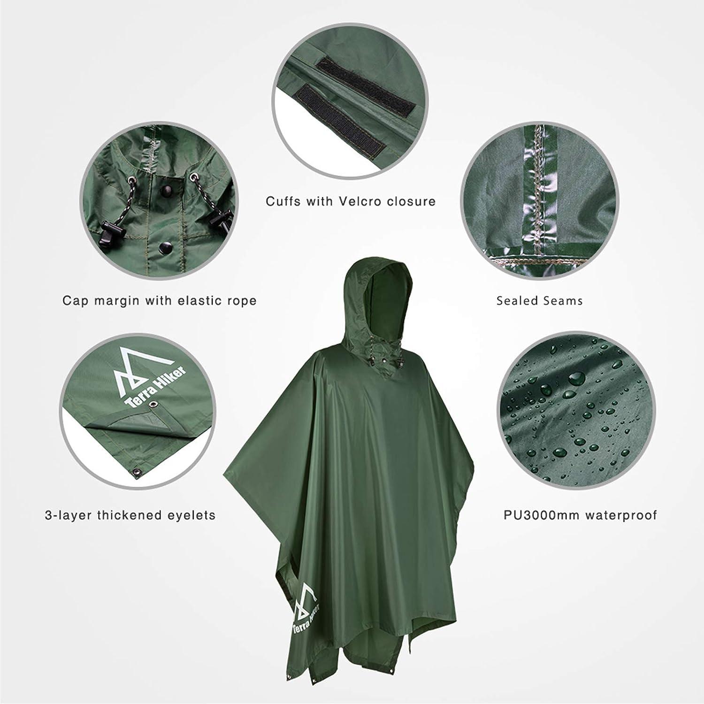 Reusable Rain Coats for Outdoor Activities Terra Hiker Waterproof Rain Ponchos Hiking Rain Jackets
