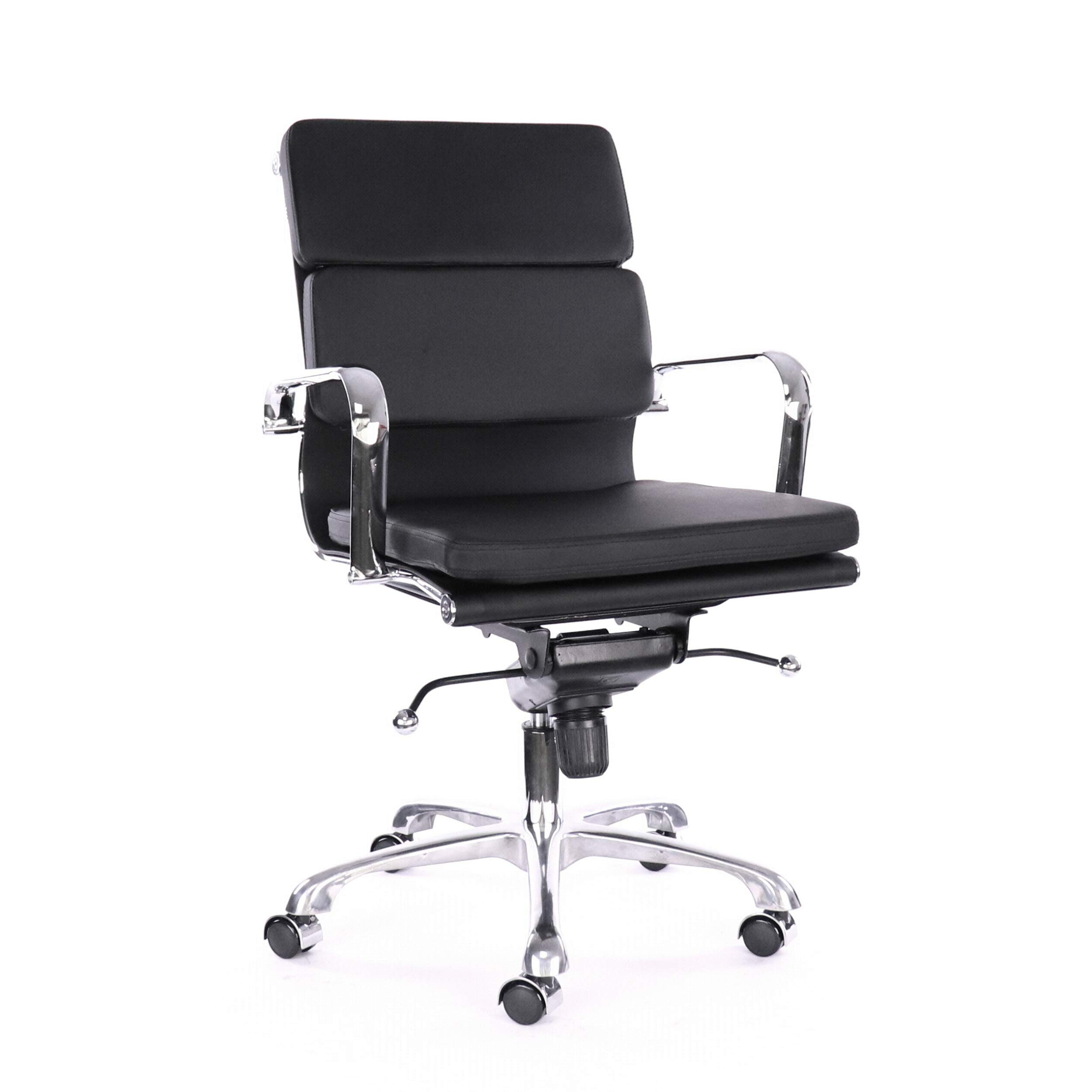 Design Lab MN LS-0008-BLKCRM Black Padded Conference Chair, Set of 2,