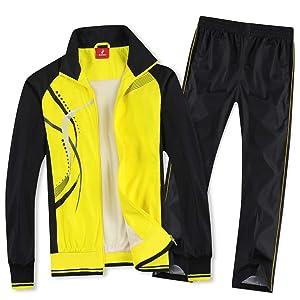 Nesseo スポーツウェア 上下 セット ジャージ パーカー パンツ メンズ スポーツ 通気 速乾 日本サイズL(タグ表示2XL) 8558イエロー