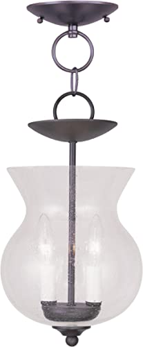 Livex Lighting 4392-07 Legacy 2-Light Convertible Hanging Lantern Ceiling Mount, Bronze
