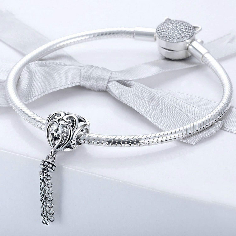 Evereena Silver Beads Bracelet for Girls Fashion Tassel Enchanted Heart Gift Charm Womens Jewelry