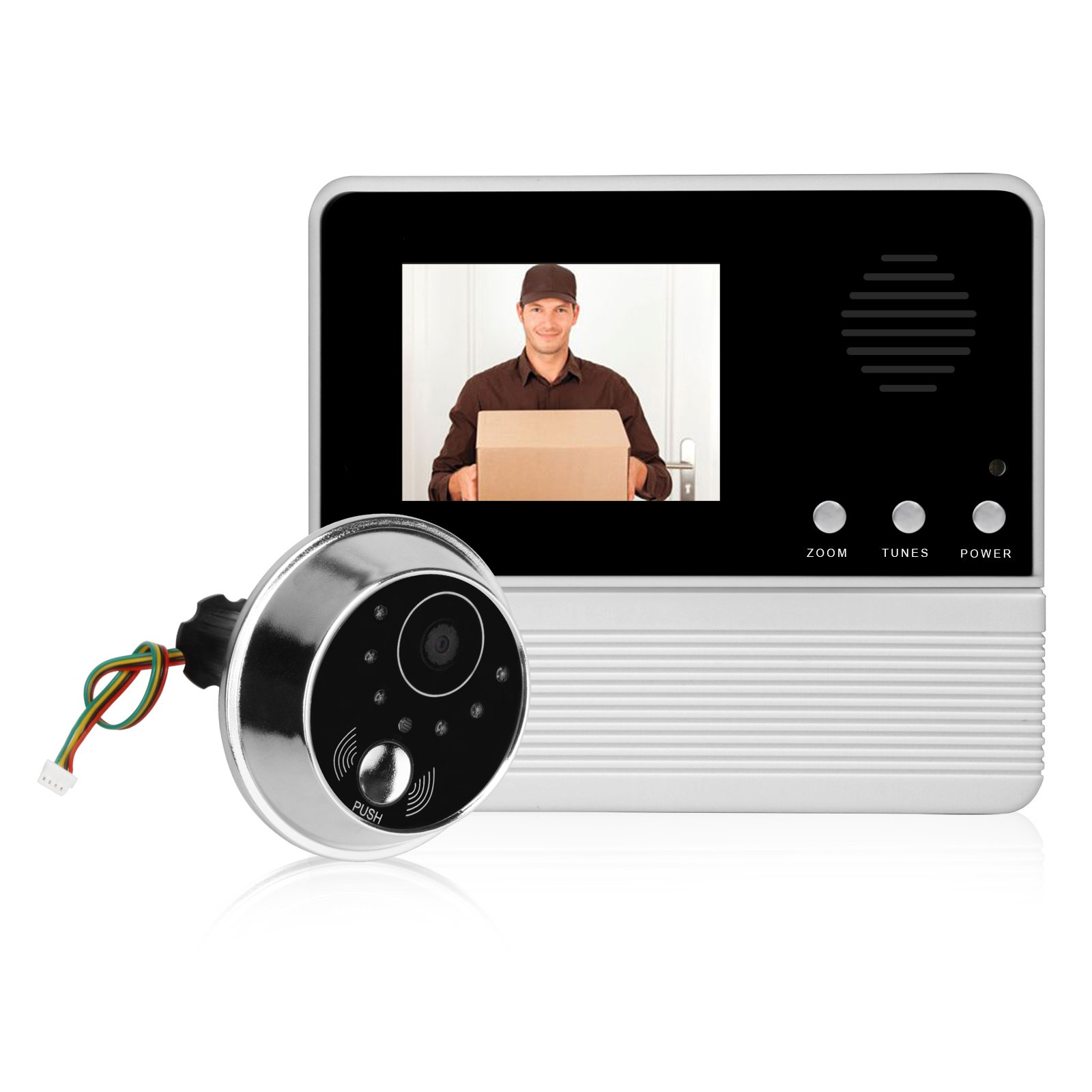Elderly TFT-LCD Doorbell Peephole Viewer Camera Secure, 2.8 inch Screen, 30 Million Mega Pixel, Night Vision, Battery Powered, 90°View Angle(No WiFi or Smart Phone Required)