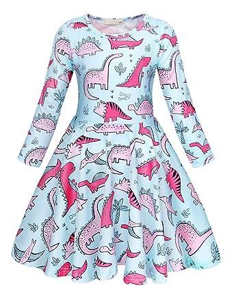 AmzBarley Unicorn//Dinosaur//Mermaid Party Dress Up Costume for Kids Girls Birthday Holiday Cartoon Animals Outfit Childs Sundress Clothes Playwear