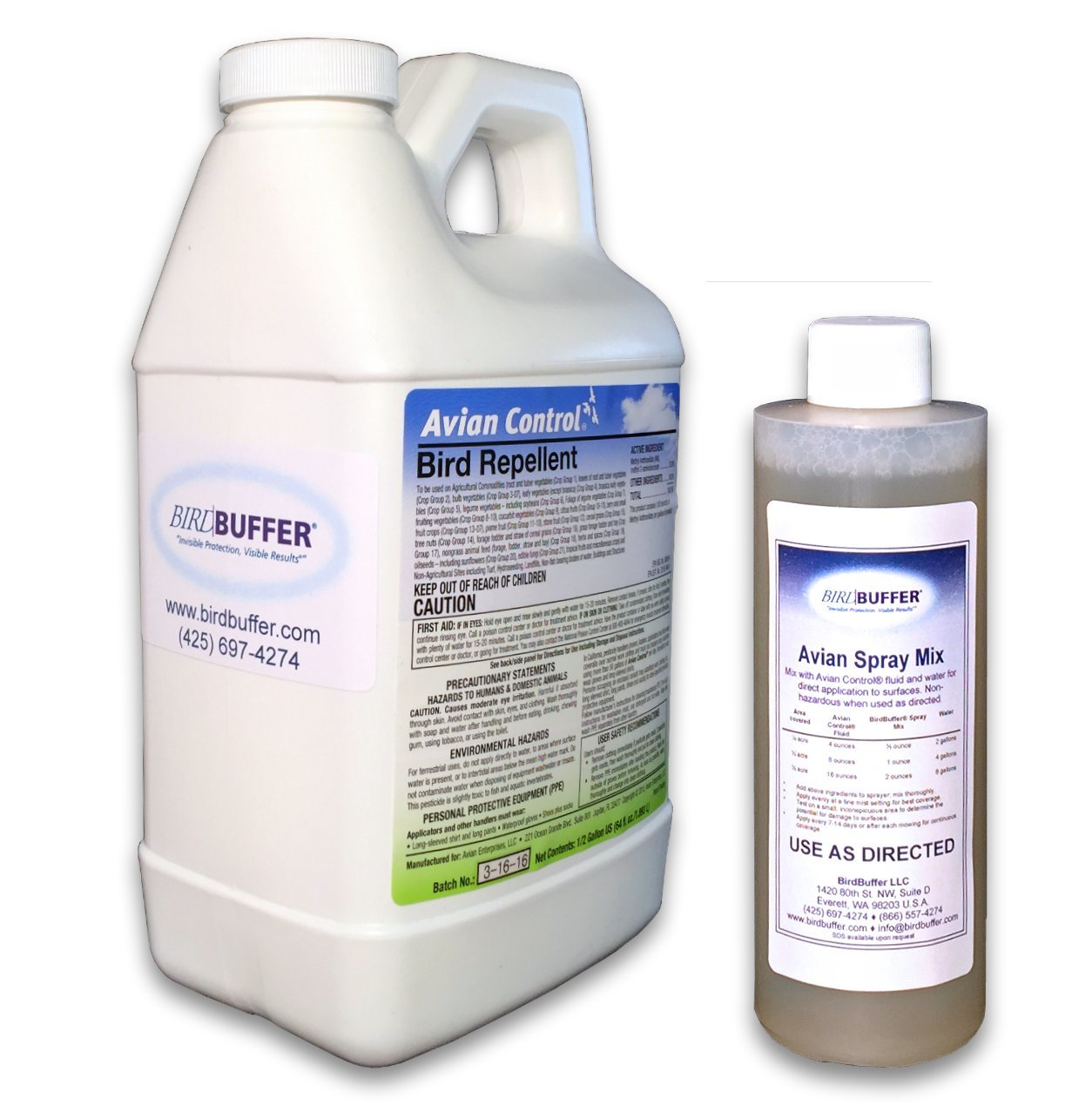 BirdBuffer Half Gallon Refill Bottle of Avian Control Fluid with Surfactant by BirdBuffer