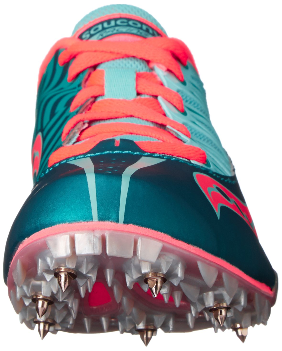 Saucony Women's Spitfire Spike Shoe, Teal/Coral, 7 M US by Saucony (Image #4)