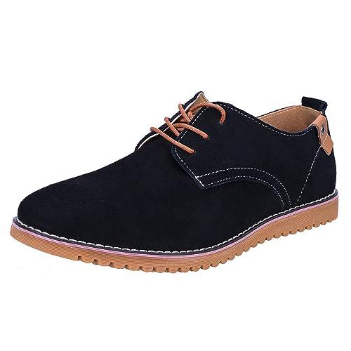 41f6c82c7 WhiFan Zapatos de Cuero Casual Oxford Zapatos de Vestir Hombre Casuales con  Cordones Derby Zapatos  Amazon.es  Zapatos y complementos