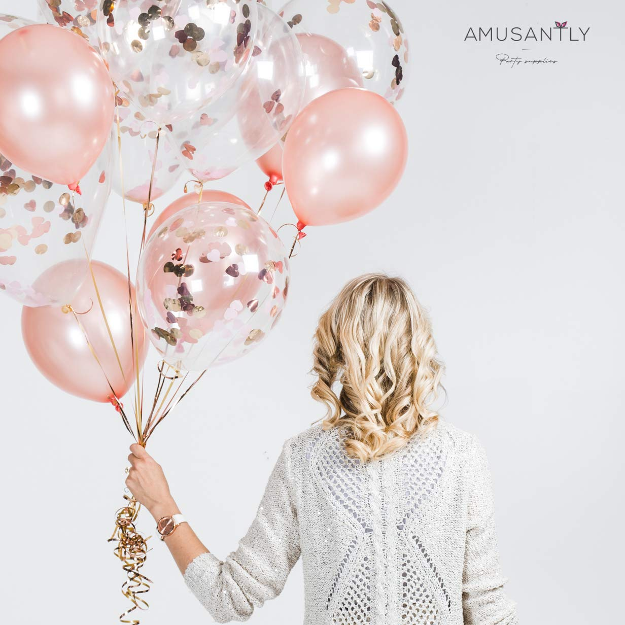 Elegant 12 Glitter Balloons for Decoration of Baby Girl or Bridal Shower Blush Birthday or Engagement Party AMUSANTLY Pink Champagne Confetti Balloons /& Rose Gold Balloons 18pcs, 65ft Ribbon