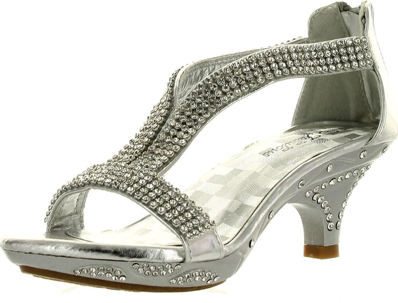 JJF Shoes Fabulous Girls Lety-73K Fashion Rhinestone T-Strap Platform Dress Heel Sandals