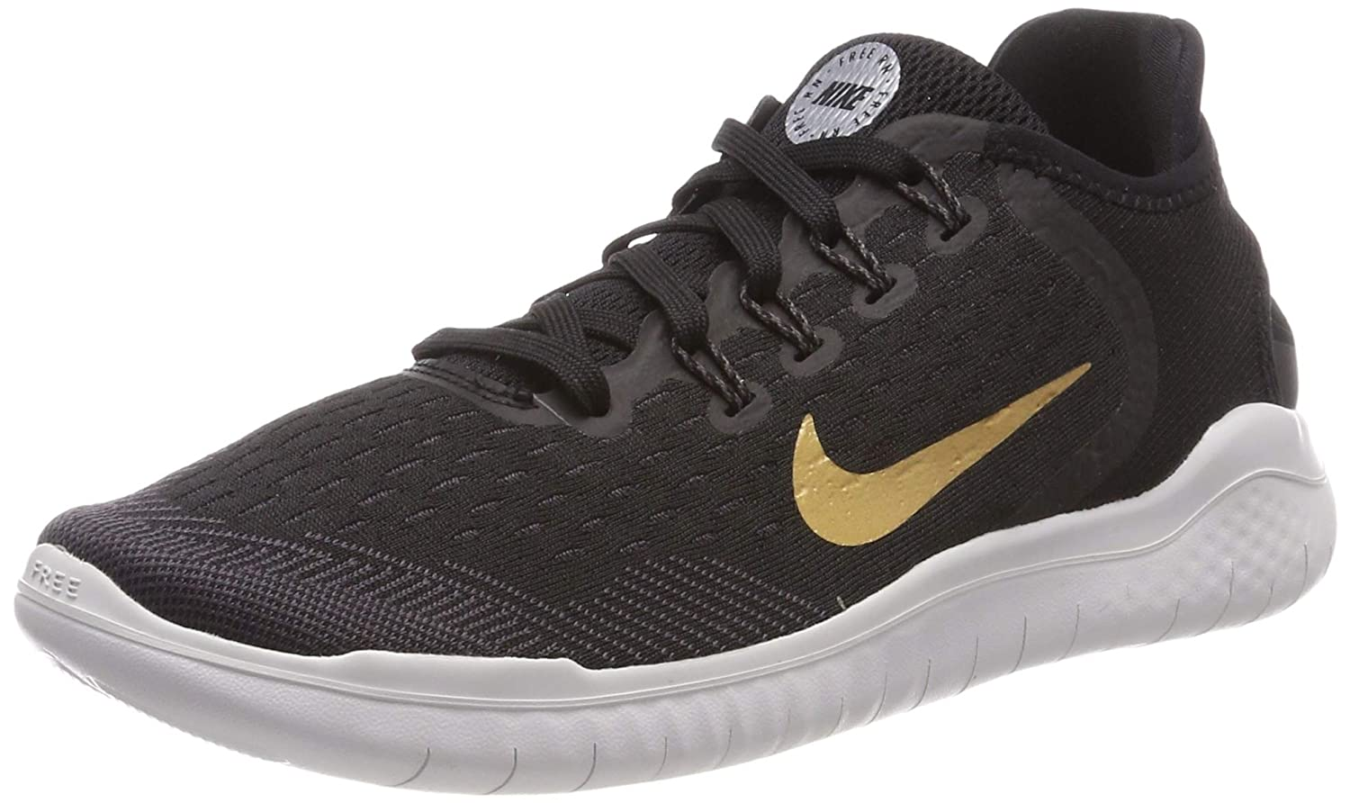 a85a41c798a0 Amazon.com  Nike Women s Free RN 2018 Black Metallic Gold Vast Grey Running  Shoe 7.5 Women US  Sports   Outdoors