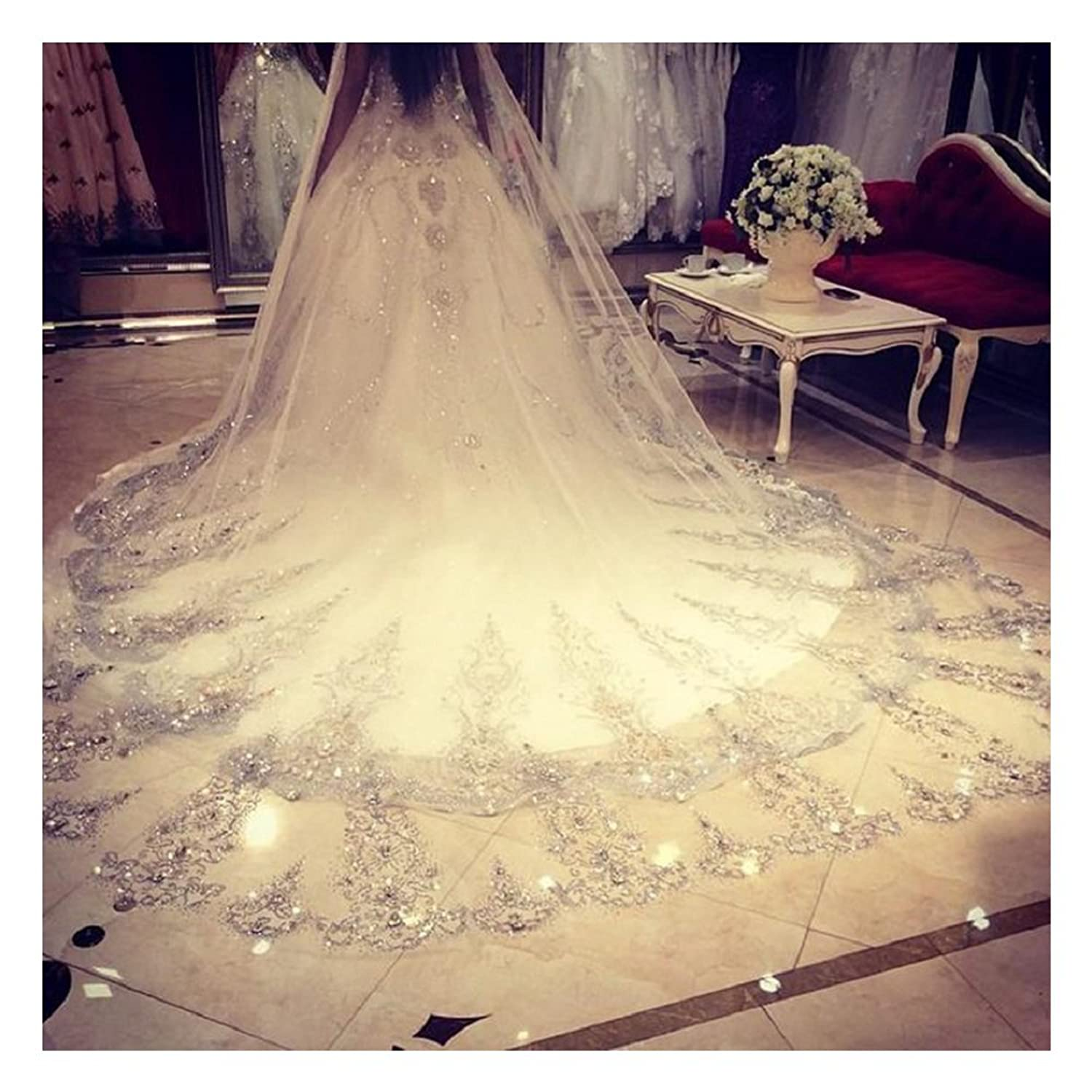 ElieHouse Womens Custom Made Sequins Chapel Wedding Bridal Veil With Free Comb Ivory E63IV At Amazon Clothing Store