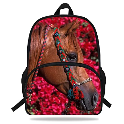 VEEWOW 16-Inch Beautiful Horse Bag School Children Boys Animal Backpack Horse Gifts For Girls (D1081) | Kids' Backpacks