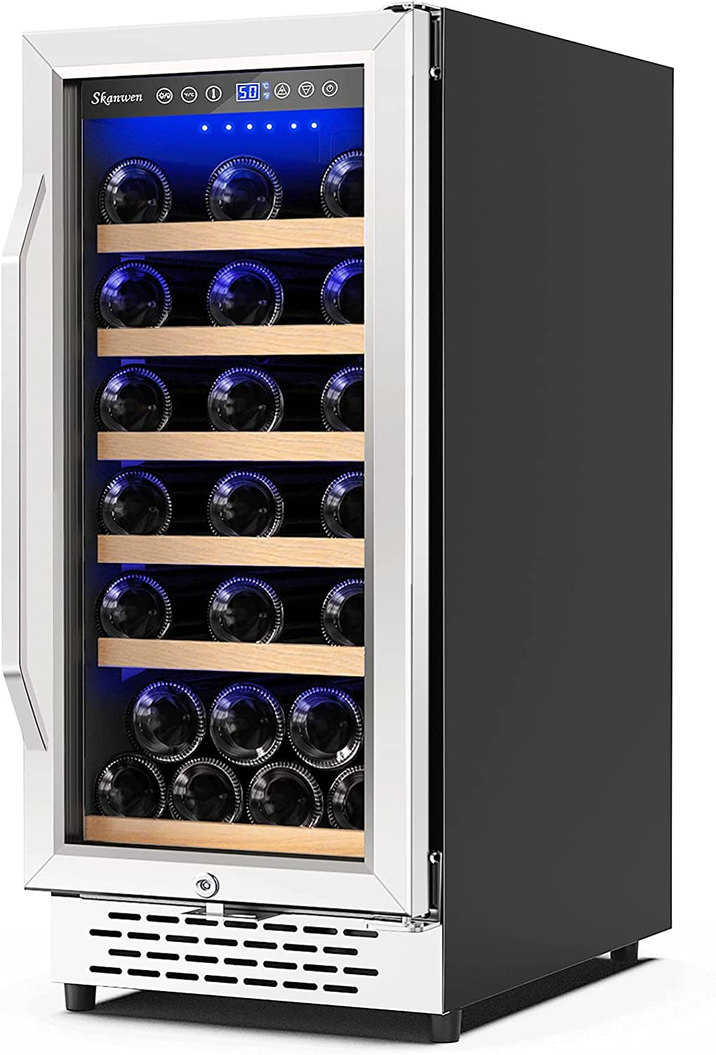 【Upgraded】SKANWEN 15 Inch Wine Cooler Refrigerators 32 Bottle Fast Cooling Low Noise and No Fog Wine Fridge with Professional Compressor Stainless Steel, Temp Memory Function, Built-in or Freestanding Wine Fridge 41°F-72°F
