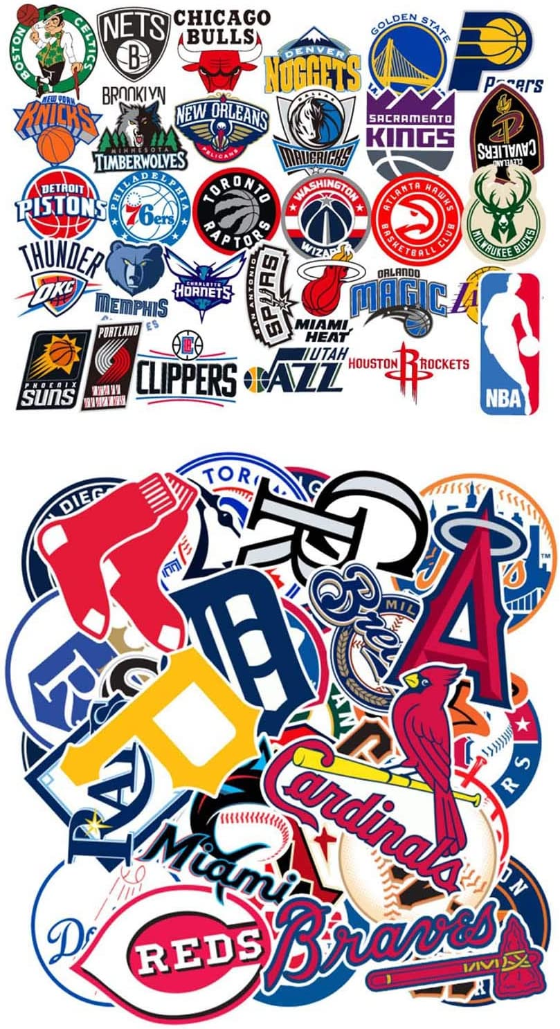Waterproof Sport Water Bottle Stickers of 31 Pack NBA Basketball 30Pcs MLB Baseball Team Logo,Kids Teens Boys Children Adult Sport Stickers for Laptop Water Bottle Helmet Luggage Sports Equipment