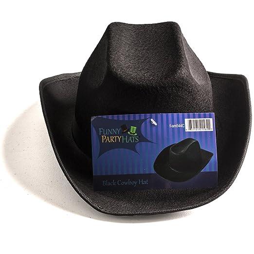 Amazon.com  Funny Party Hats Black Cowboy Hat - Cowboy Hats - Western Hat -  Unisex Adult Cowboy Hat - Cowboy Costume Accessories  Toys   Games edf6fd8b6f9
