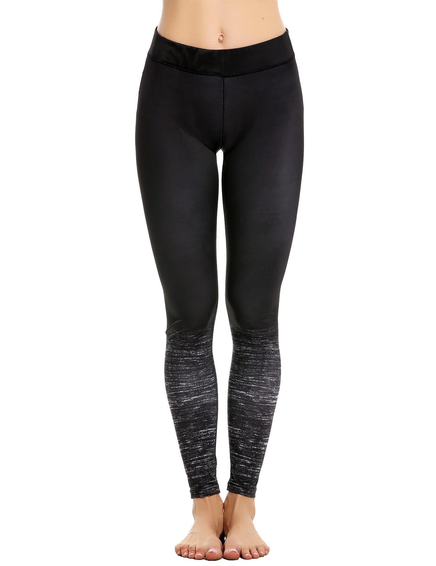 Coorun Femme Pantalon Élastique Jogging Taille Haute Gradient De Couleur Noir