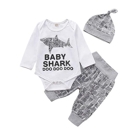 Newborn Baby Boy Shark Romper Bodysuit Jumpsuit Playsuit Clothes Outfit Gray