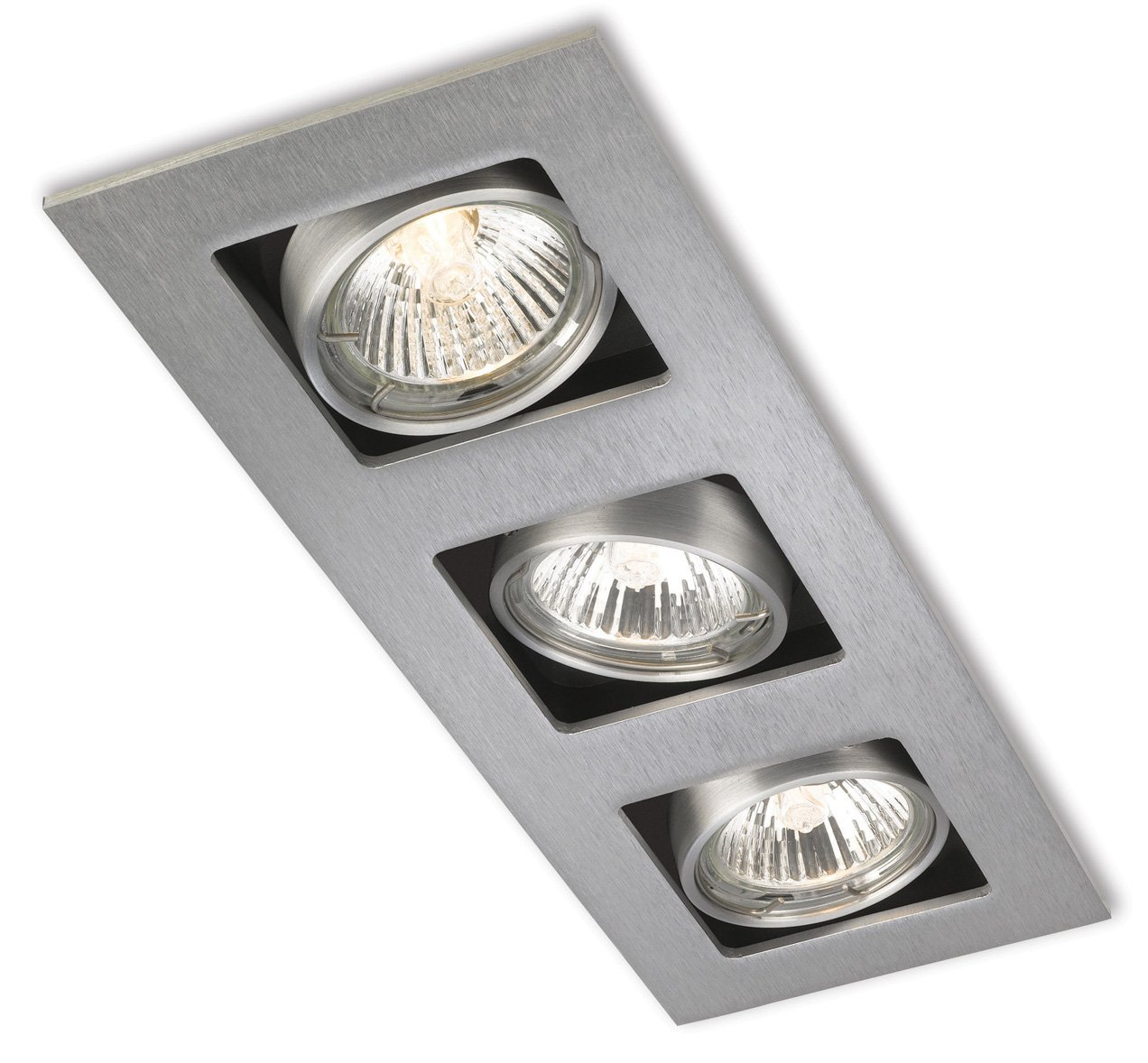 Firstlight 1504BS GU10 4 x 240 V 50 Watt Brushed Steel Cube Square Downlight Firstlight Products