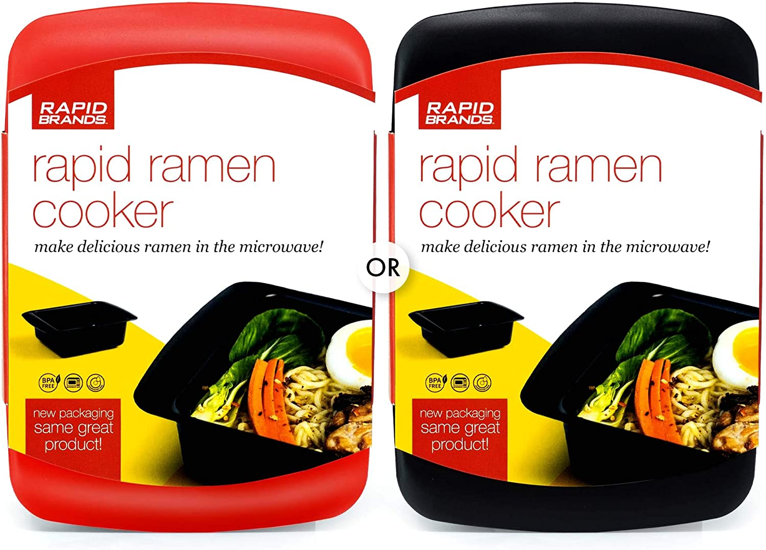 Rapid Ramen Cooker - Microwave Ramen in 3 Minutes - BPA Free and Dishwasher Safe - Mystery (Red or Black)