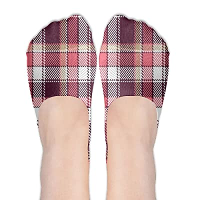 Lucy Jim Old Fashioned Style Garment Pattern Traditional Plaid Geometric Squares Women's Terylene Cotton Stockings