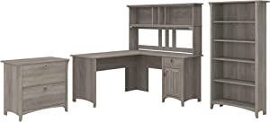 Bush Furniture Salinas L Shaped Desk with Hutch, Lateral File Cabinet and 5 Shelf Bookcase, 60W, Driftwood Gray