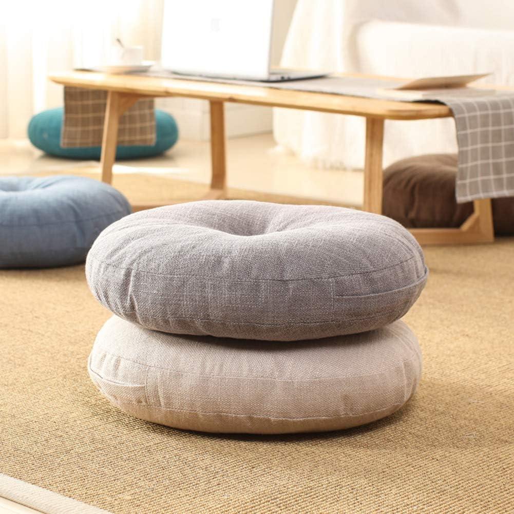 15.7inch JYMBK Natural Round Floor Cushion Chair Pad,linen Thicken Seat Cushion Floor,for Home Bay Window Party Garden Decoration A Diameter 40cm