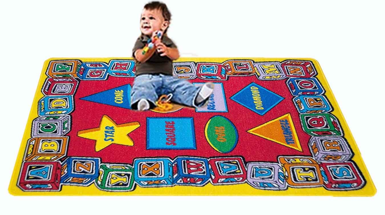 Kids Rug ABC SHAPE Area Rug 7'10'' x 11'3'' non slip gel backing