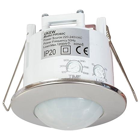 Sensor de movimiento para techo, 360grados, ahorro de energía,