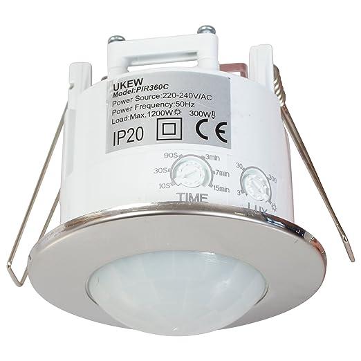 Sensor de movimiento para techo, 360 grados, ahorro de ...