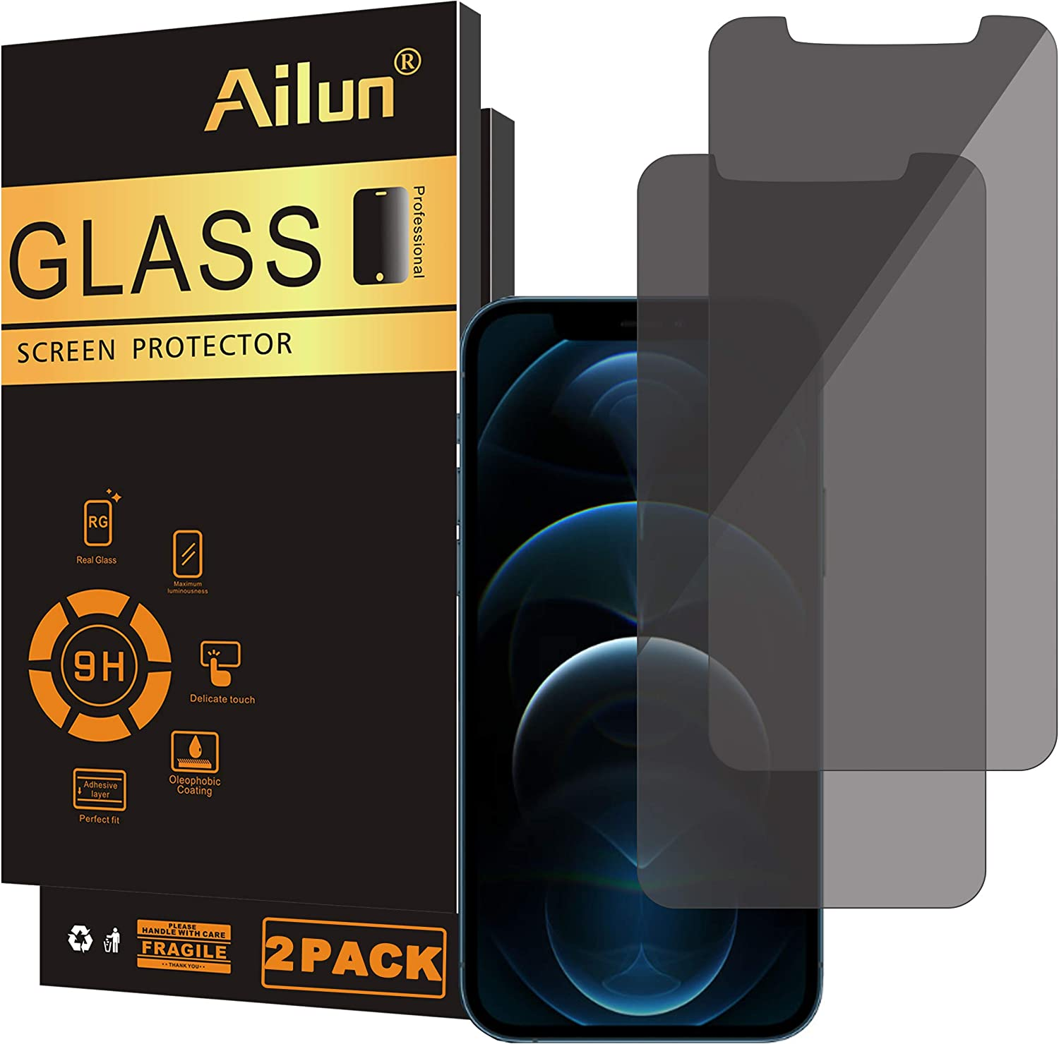 Ailun Privacy Screen Protector Compatible for iPhone 12 pro Max 2020 6.7 Inch 2 Pack Anti Spy Case Friendly Tempered Glass
