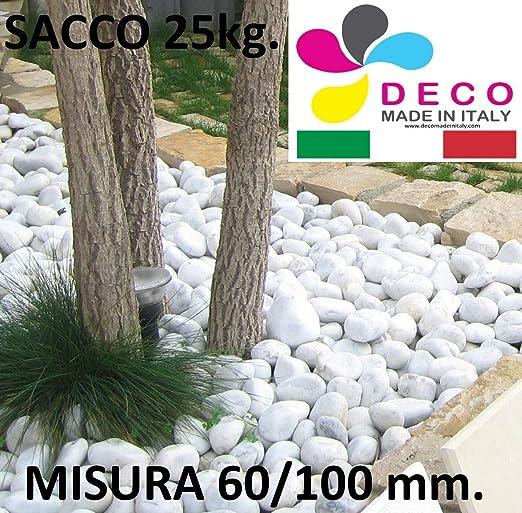 Decomadeinitaly - Cuenco Blanco de Carrara en Bolsa de 25 kg, diámetro 60/100 mm, Piedra Blanca para jardín: Amazon.es: Jardín