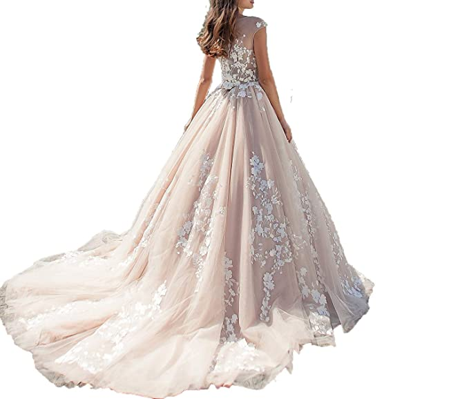 Tutuvi Womens Princess Flower Lace Ball Gown Wedding Dresses For