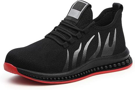 JIEFU Hombre Zapatillas de Seguridad Correr Malla Casual Calzado con Punta de Acero Transpirables Zapatos de Trabajo Deportivos de Running: Amazon.es: Zapatos y complementos