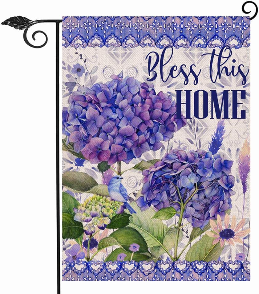 Hzppyz Bless This Home Garden Flag Spring Summer Hydrangea Flower, Decorative House Yard Lawn Outdoor Small Burlap Flag Welcome Decor, Vintage Farmhouse Seasonal Outside Decorations Double Sided 12x18